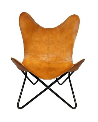 AU130.28 • Buy Handmade Genuine Brown Leather Butterfly Relaxing Chair For Office & Home S6-63