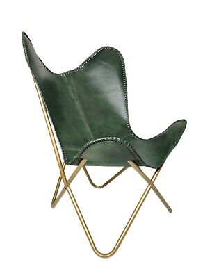 AU132.79 • Buy Genuine Green Leather Butterfly Chair Handmade Folding Chair Office Chair S6-68