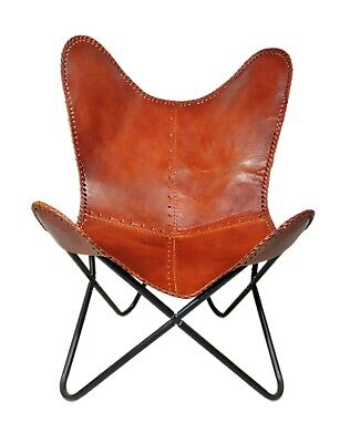 AU130.89 • Buy Indian Handmade Genuine Brown Leather Butterfly Chair For Home And Office S6-72