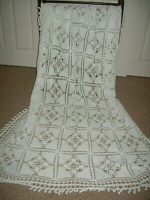 £30 • Buy Vintage White Cotton Crochet Tablecloth Or Single Bed Cover.
