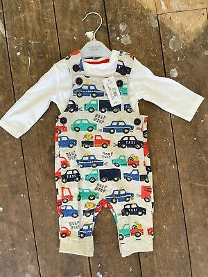 £11.99 • Buy 0 - 3 Months Dungarees Vehicles + White T Shirt Debenhams - New With Tags!