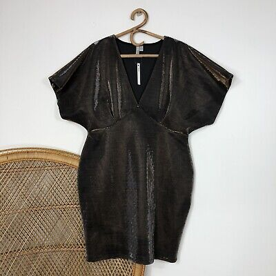 AU25 • Buy Asos Curve Dress Size 18 XL Cocktail Metallic Shimmer Fitted