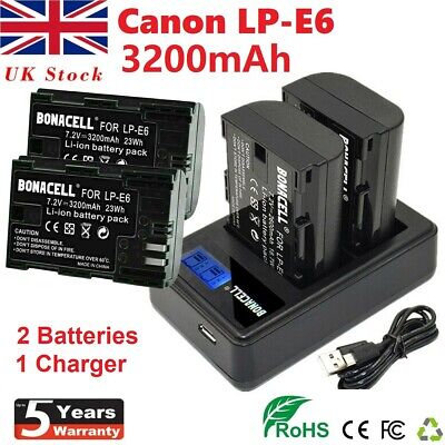 £23.99 • Buy 2X LP-E6 LP-E6N Battery + LCD Dual Charger For Canon EOS 70D 60D 5D 80D Mark II
