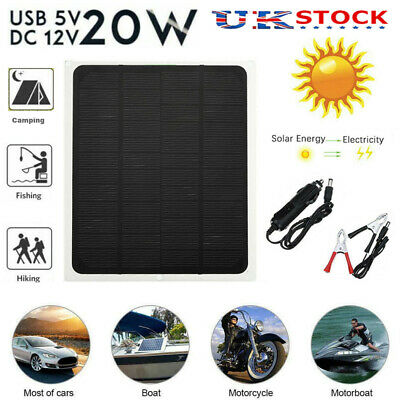 £12.99 • Buy 12V/20W Outdoor Battery Charger Portable Solar Panel Trickle Car Boat Supply Van