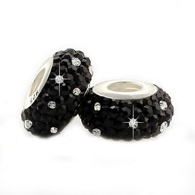 £4.95 • Buy 1 Black Crystal Charm Bead 925 Silver - Gift For Wife Daughter Sister