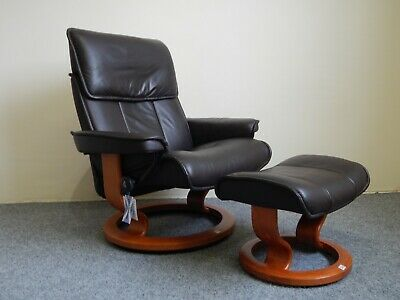 £635 • Buy Ekornes Stressless 'Admiral' Leather Recliner And Stool Size Large (363)