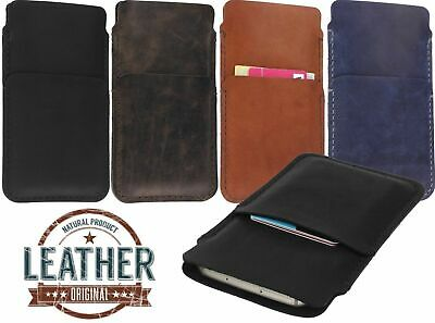 AU27.77 • Buy Hand Stitched Genuine Leather Case Cover Pouch With Card Pocket For Mobile Phone