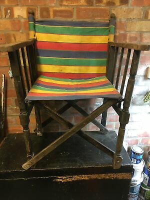 £30 • Buy Vintage Retro Hardwood Folding Directors Chair With Striped Canvas Seat & Back