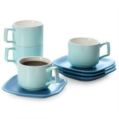 £9.99 • Buy DOWAN Cappuccino Cups And Saucers Sets, 8.4 Oz Ceramic Cappuccino Cups Set Of 4,
