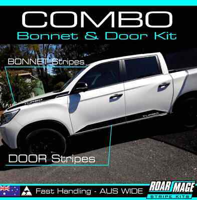 AU149 • Buy 2021 Ssangyong Musso COMBO BONNET & DOOR Stripes Decals Stickers 4x4 4WD Turbo