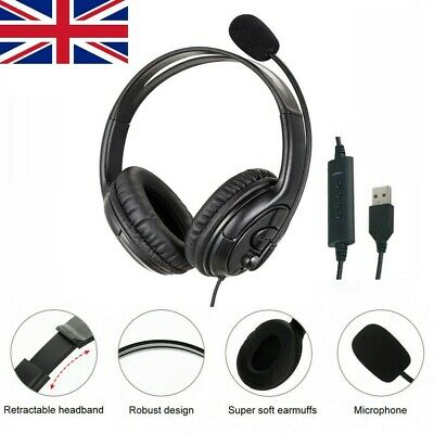 £10.95 • Buy USB Headset Noise Canceling With Microphone For Skype Laptop PC Call Computer UK