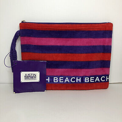 £10.89 • Buy Justin Bieber Fragrances Bag- Beach With Purple Pink And Red Stripes Small Bag