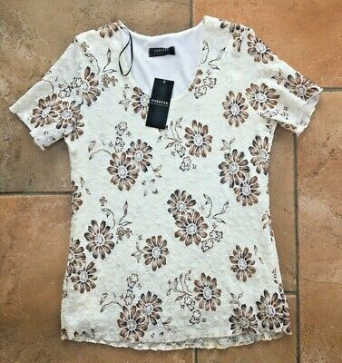 £9.99 • Buy Forever By Michael Cream Brown Gold Short Sleeve Lined Top - M - New With Tags