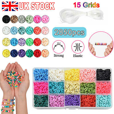£10.99 • Buy 2850pcs Flat Polymer Clay Beads Spacer For DIY Bracelets Jewelry Making Finding