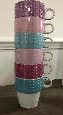 £11.99 • Buy Next Stacking Mugs - Set Of 6 - White With Coloured Rim - Ideal Camper Van