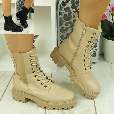 £22.90 • Buy Army Boots Ladies Lace Up Womens Chelsea Punk Goth Comfy Chunky Heel Shoes Size