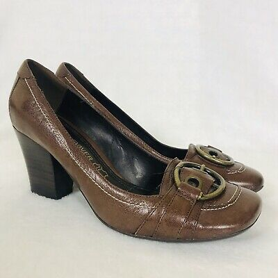 £6.95 • Buy Next Shoes 3.5 Sole Reviver Brown Leather Court Buckle Round Toe Block Heel Work