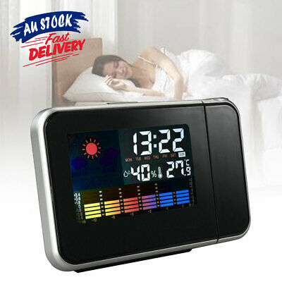 AU16.79 • Buy Digital Projector Time Clock Thermometer Weather LED LCD Color Alarm Snooze