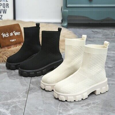 £16.99 • Buy Womens Boots Flat Chunky Platform Sole Chelsea Slip On Sock Ankle Boots Shoes