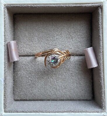 £450 • Buy Beautiful Clogau Peacock Throne Ring - 18ct Gold With Mystic Topaz - Size S