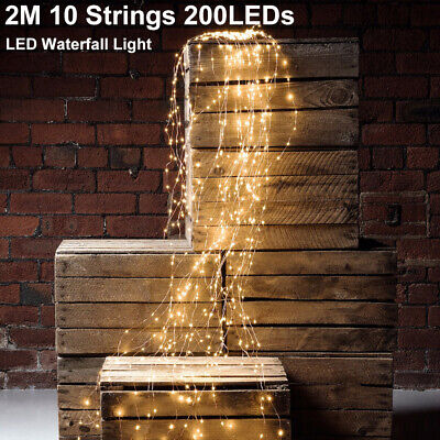 £8.99 • Buy 2M 200 LEDs Waterfall Vines Branch Tree Wire Fairy String Lights Christmas Decor