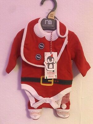 £6 • Buy Mothercare Santa Claus 3 Piece Outfit Newborn Baby Up To 7.5LB Christmas BNWT