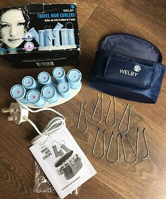 £23 • Buy WELBY TRAVEL COMPACT HEATED HAIR ROLLERS  8x ROLLERS  8x PINS & TRAVEL CASE
