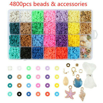 £11.99 • Buy 1Set Flat Polymer Clay Beads Spacer Round DIY Bracelets Jewelry Making Finding
