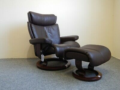 £745 • Buy  Ekornes Stressless 'Magic' Leather Recliner And Stool Size Large (370)