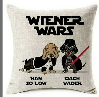 £12.99 • Buy Cute Linen Dachshund Cushion Cover Large Sausage Dog Lover Novelty Gift