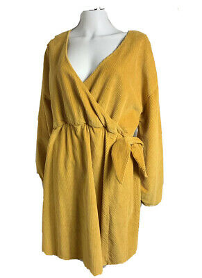 AU45 • Buy Asos Size 18 Deep Yellow Corduroy Long Sleeved Fixed Crossover Fit Flare Dress