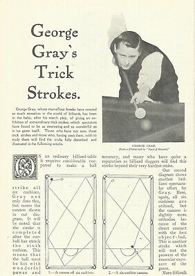 £16.99 • Buy Billiards - George Gray's Trick Strokes 1912 Article  Australian Player Red-ball
