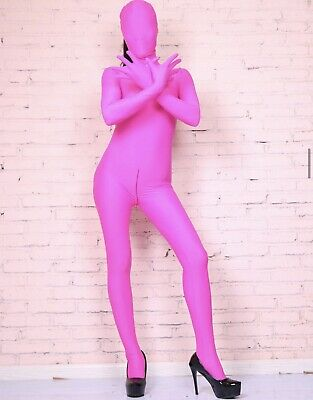 £34.99 • Buy Hot Pink Spandex Zentai Costume Party Bodysuit Catsuit Unitard Hooded 10-12