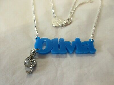 £19.99 • Buy Tatty Devine Name Necklace Olivia (blue) With Treble Clef Style Charm