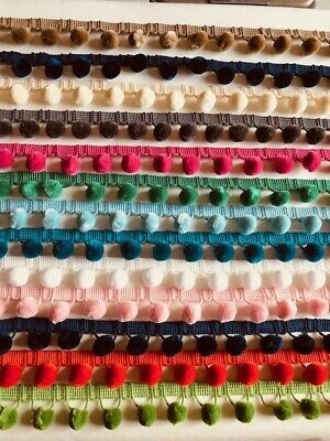£2.10 • Buy POM POM TRIMMING - 18mm - Various Colours - Cushions Upholstery Fringing Sewing