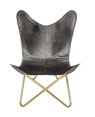 AU133.84 • Buy Leather Relaxing Office Chair – Genuine Handmade Leather Butterfly Chair S6-88