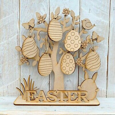 £7.45 • Buy Wooden MDF Easter Tree With Decorations Easter Eggs Easter Display Freestanding