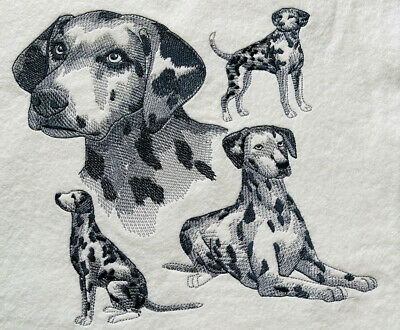 £6 • Buy Embroidered Quilt Block Fabric Wool Panel Dalmatian Dog Black White Spots