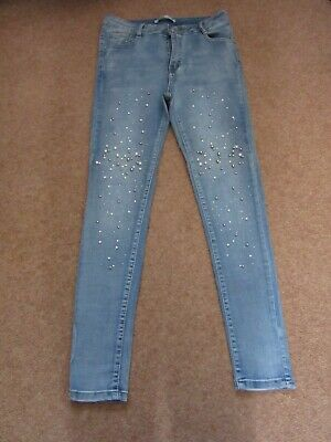 £12 • Buy Blue Stretch Ladies Skinny Jeans With Diamante Detail