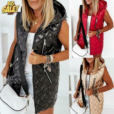 £27.79 • Buy Womens Puffer Padded Quilted Vest Coat Winter Warm Hooded Ladies Gilet Jacket UK