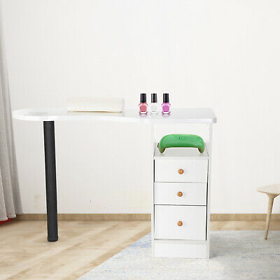 £89.99 • Buy Professional Manicure Table Nail Station Portable Desk Drawers Spa Salon White