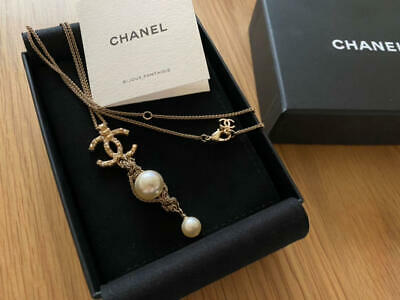 £557.37 • Buy CHANEL Stone COCO Mark Pearl Long Pendant Necklace Gold 18A Jewelry From Japan