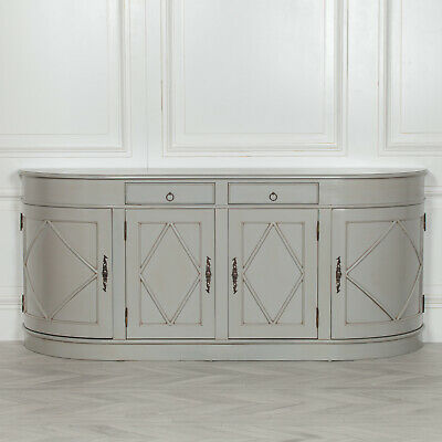 £699 • Buy SECONDS Large French Classic Rounded Grey Distressed Buffet Cupboard Sideboard