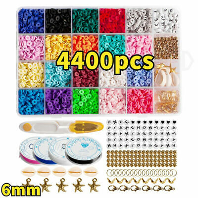 £13.99 • Buy 1Set Flat Polymer Clay Beads Spacer For DIY Bracelets Jewelry Making Finding UK