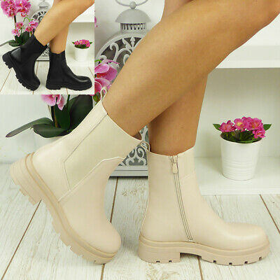 £23.90 • Buy Ladies Mid Calf Chelsea Boots Punk Goth Wellies Guesset Chunky Heel Shoes  Size