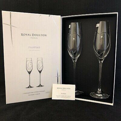 £16 • Buy NWOT Royal Doulton Fine Crystal Heart Entwined Champagne Flutes  24139 CP