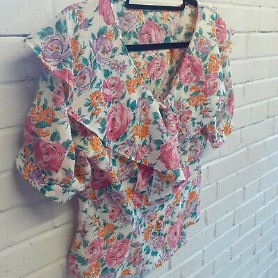 £14.99 • Buy St Michael's Size 12 Floral Blouse Oversized Collar Short Button Up Puff Sleeve