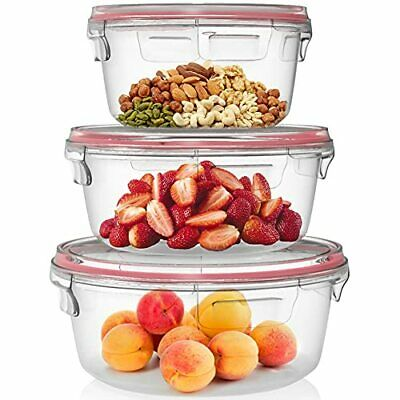 £23.99 • Buy Home Fleek - Glass Food Storage Round Containers | Leakproof | BPA Free Set 3