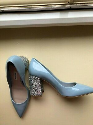 £230 • Buy Brand New Miu Miu Blue Patent Leather 85 With Block Glitter Heel Shoes, Size 36
