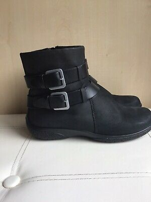 £22 • Buy Hotter Uptown Dark  Grey Leather Flat Ankle Boots UK 4 Eu 37 USA 6 Zip Buckle